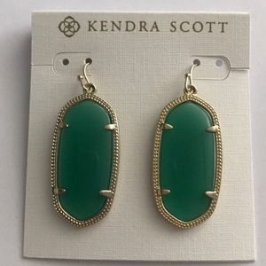 NWT Kendra Scott Gold green Elle earrings